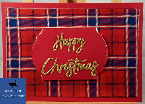 Red Tartan Happy Christmas Card