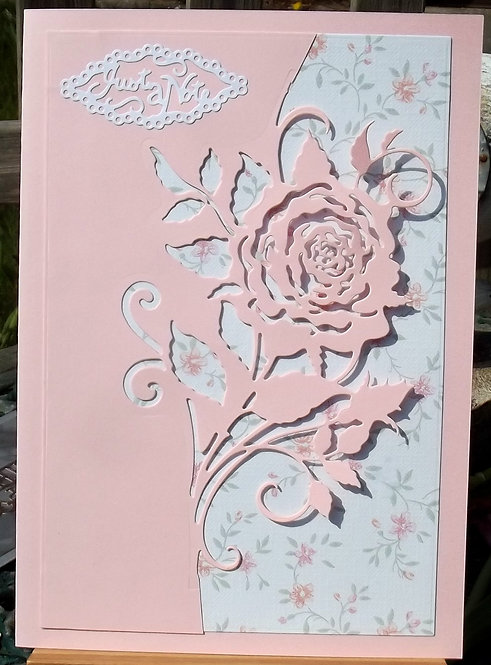 Pink & White Rose Blank/Note Card