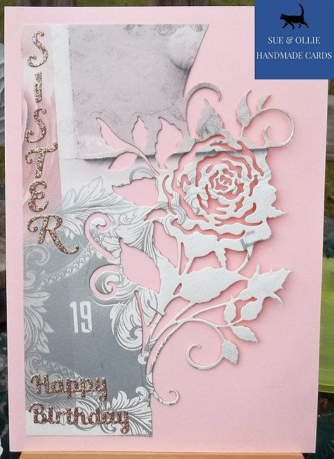 Pink Rose Sister Birthday Card