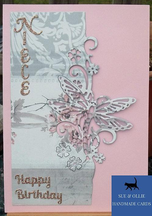 Pink Dragonfly Niece Birthday Card