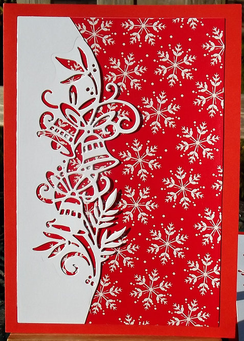 Red & White Bells Snowflakes Christmas Card