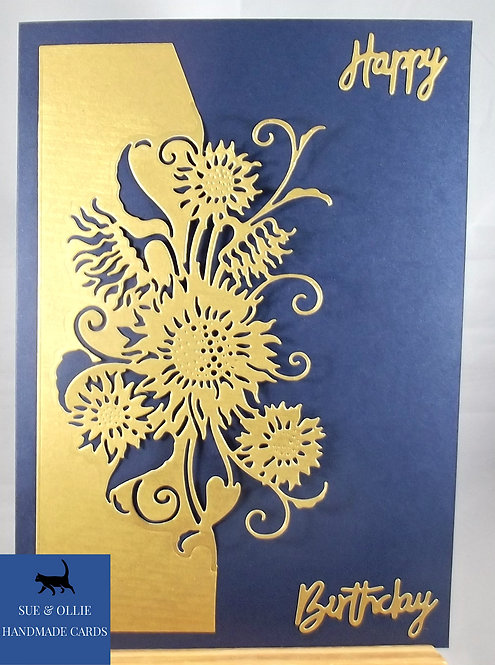 Navy Gold Sunflowers Birthday Card