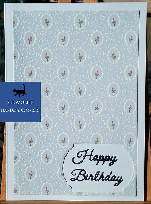 Blue with Pink Flowers Happy Birthday Card