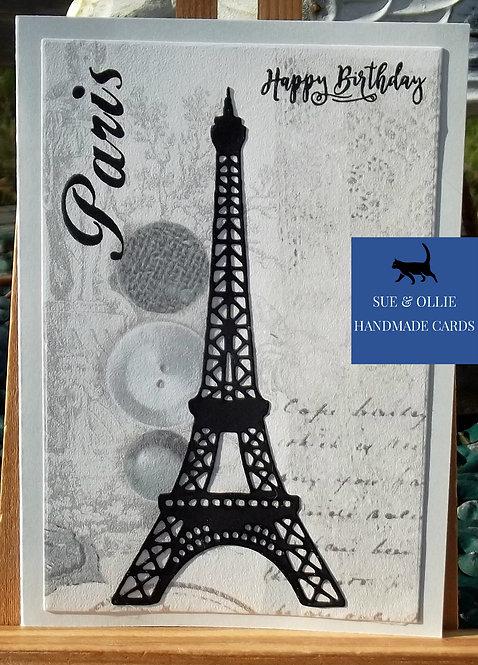 Grey Paris/Eiffel Tower Birthday Card