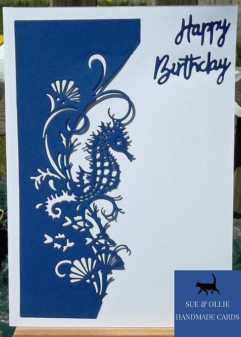 Blue & White Seahorse Birthday Card