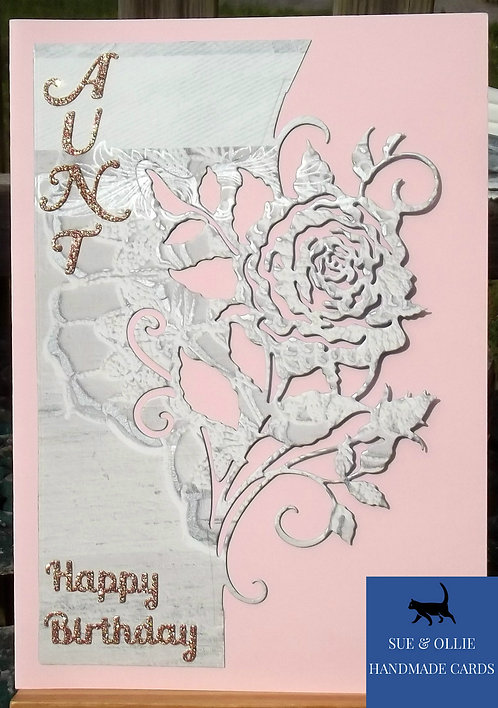 Pink Rose Aunt Birthday Card