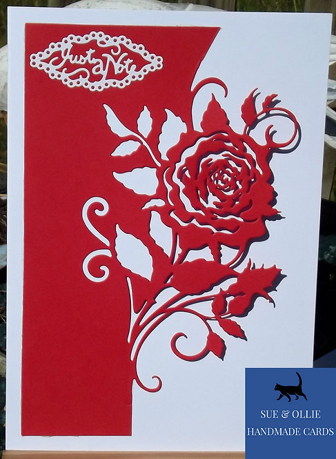 Red & White Rose Blank/Note Card