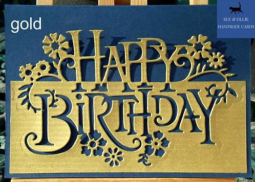 Navy Gold/Silver Happy Birthday Card