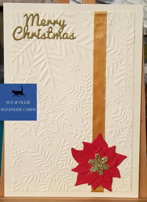 Cream & Gold Poinsettia Christmas Card