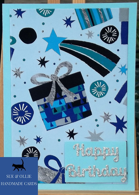 Blue Presents Birthday Card