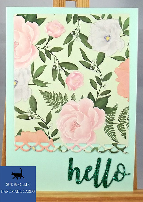 "Green Flowers ""Hello"" Blank/Note Card"
