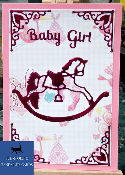 Pink Rocking Horse Baby Girl Card