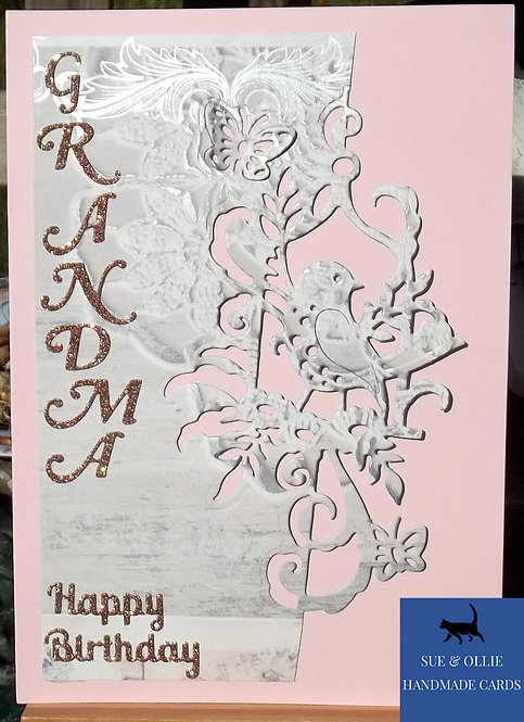 Pink Bird Grandma Birthday Card