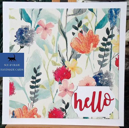 """White Square Watercolours Flowers """"hello"""" Card"""