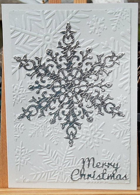 Grey Silver Large Snowflake Christmas Card