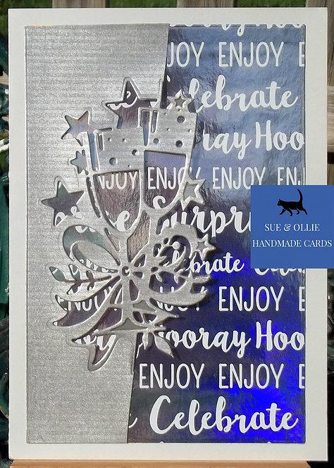 Grey & Silver Congrats/Celebration Champagne Glasses Card