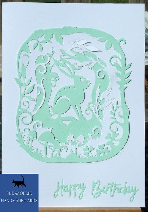 White & Green Woodland Hare Birthday Card