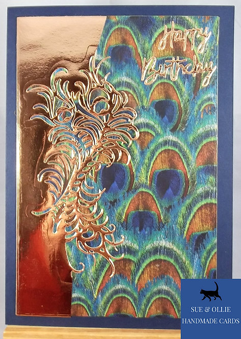 Peacock Feathers Happy Birthday Card (Large)