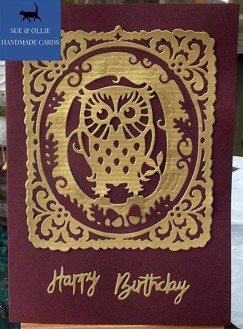 Maroon & Gold Owl Birthday Card