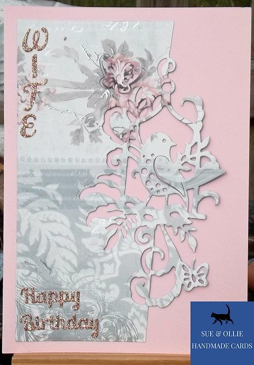 Pink Bird Wife Birthday Card