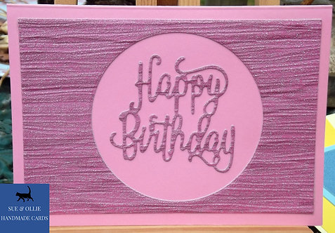 Pink Circle Happy Birthday Card