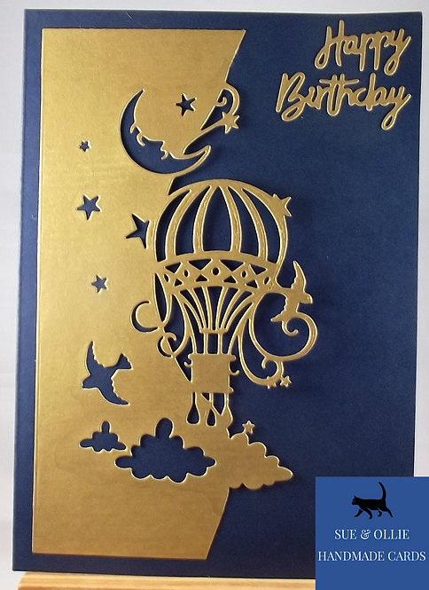 Navy Hot Air Balloon Birthday Card