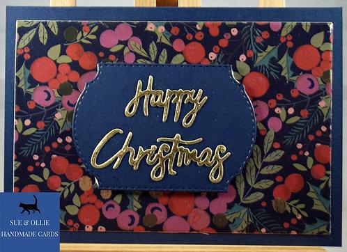 """Navy """"Berries"""" Happy Christmas Card"""