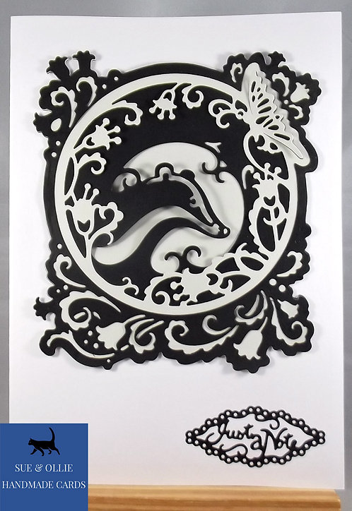 Black/White Badger & Butterfly Blank/Note Card