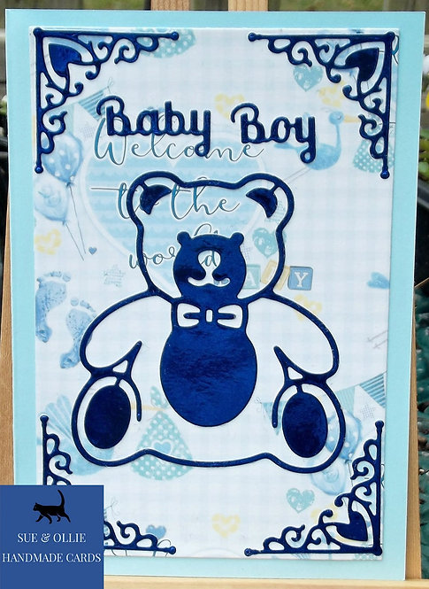 Blue Baby Boy Teddy Bear Card