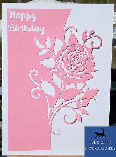 Pink & White Rose Birthday Card
