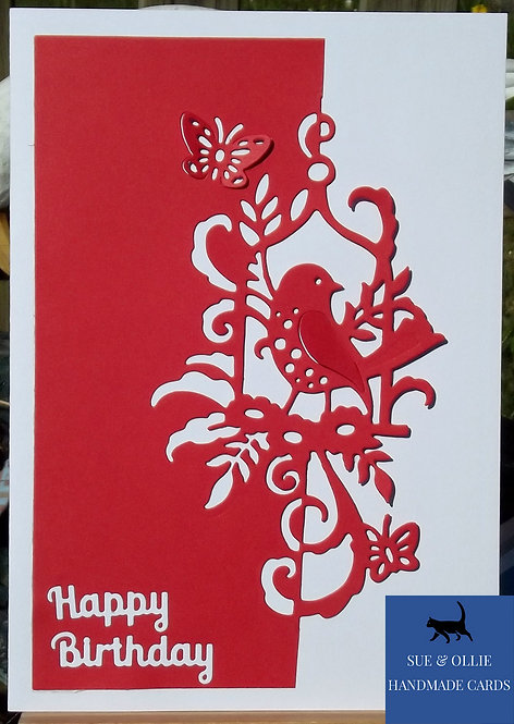 Red & White Bird Birthday Card