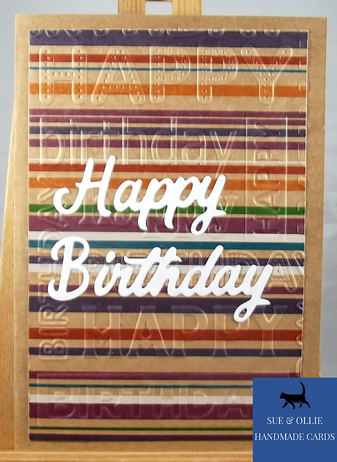 Brown Rainbow Stripes Male Birthday Card