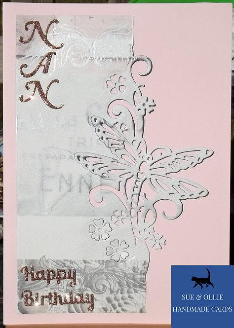Pink Nan Dragonfly Birthday Card