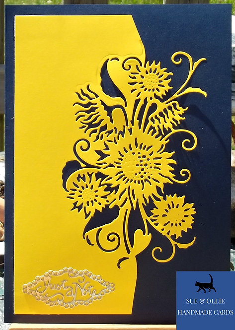 Navy Yellow Sunflowers Blank/Note Card