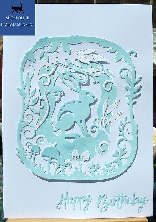 White & Blue Woodland Hare Birthday Card
