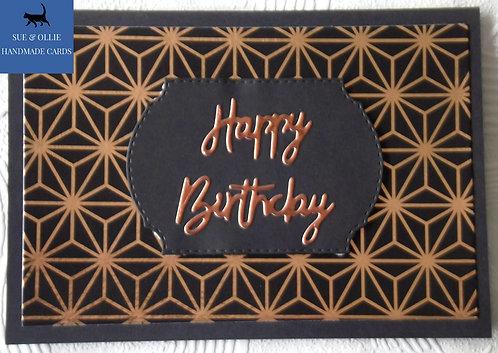 Black/Copper Stars Male Birthday Card