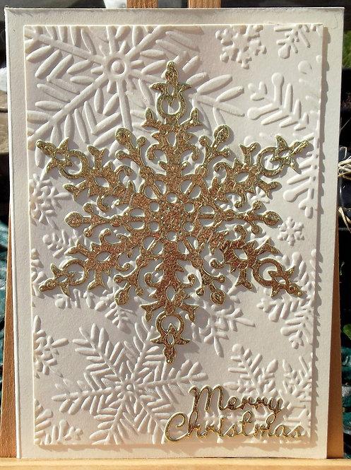 Cream Gold Large Snowflake Christmas Card