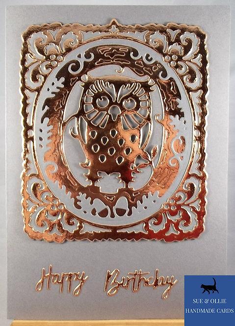 Grey & Copper Owl Birthday Card