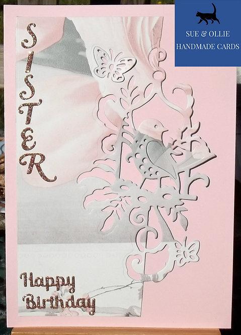 Pink Sister Bird Birthday Card