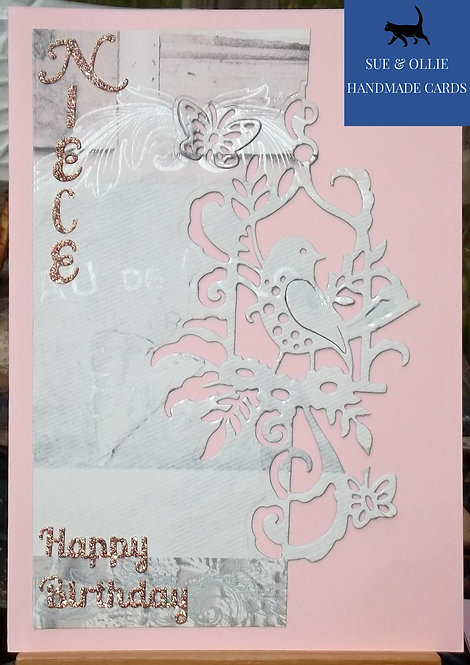 Pink Niece Bird Birthday Card