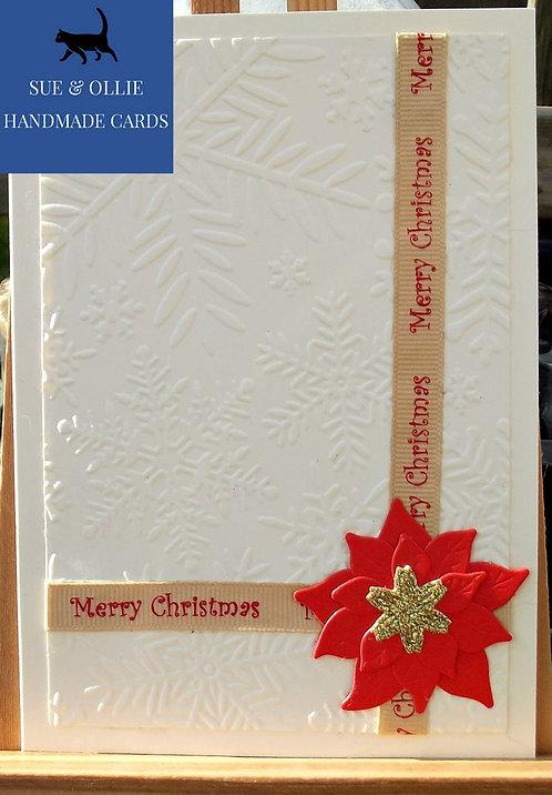 Cream Poinsettia Christmas Card