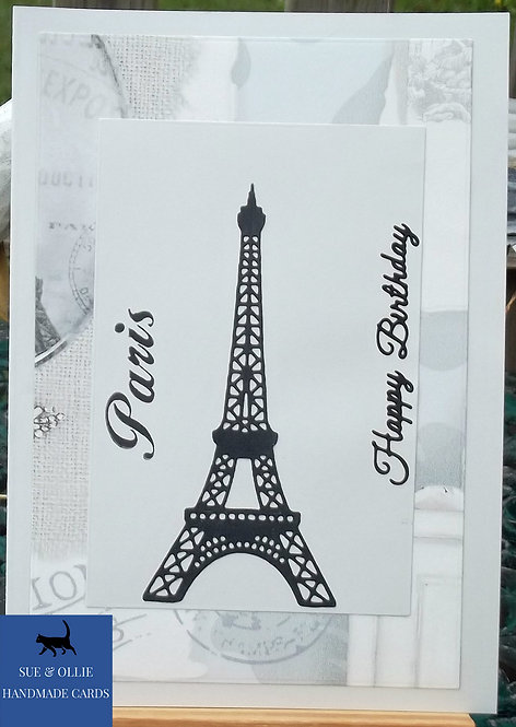 Grey Paris & Eiffel Tower Female Birthday Card