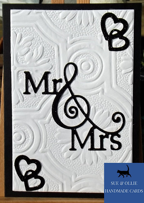 "Black & White ""Mr & Mrs"" Wedding Card"