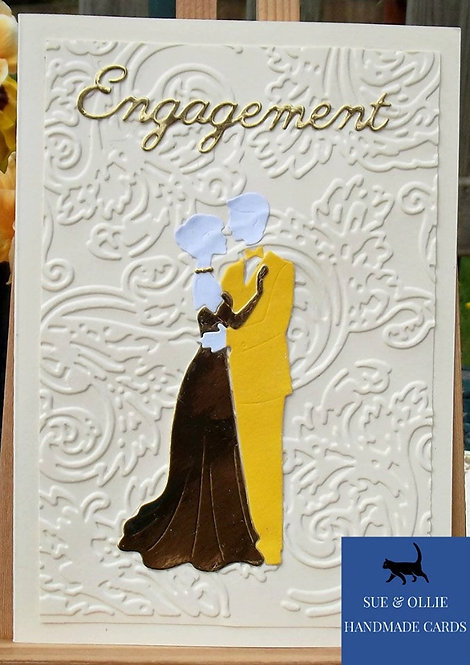 Cream Couples Engagement Card