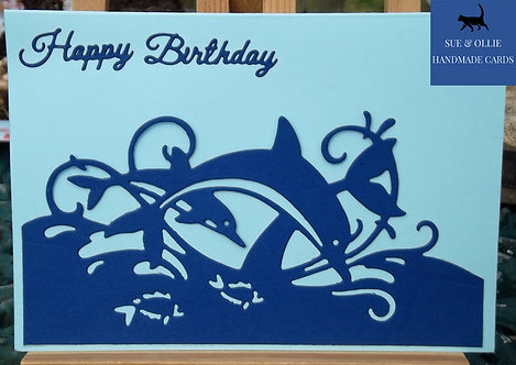 Blue Dolphins Birthday Card