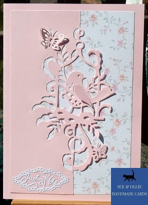 Pink & White Bird Blank/Note Card