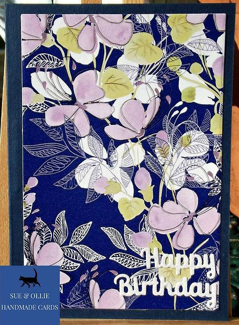 Navy Flowers Female Birthday Card