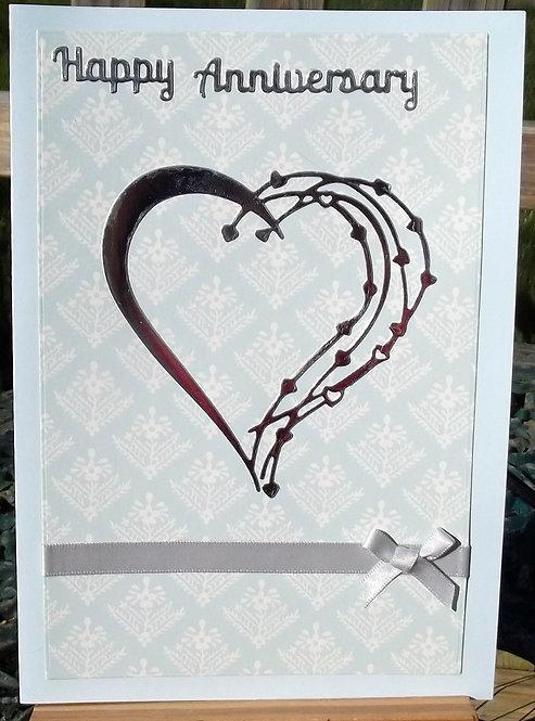 Blue Silver Heart Anniversary Card