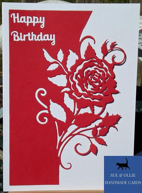 Red & White Rose Birthday Card