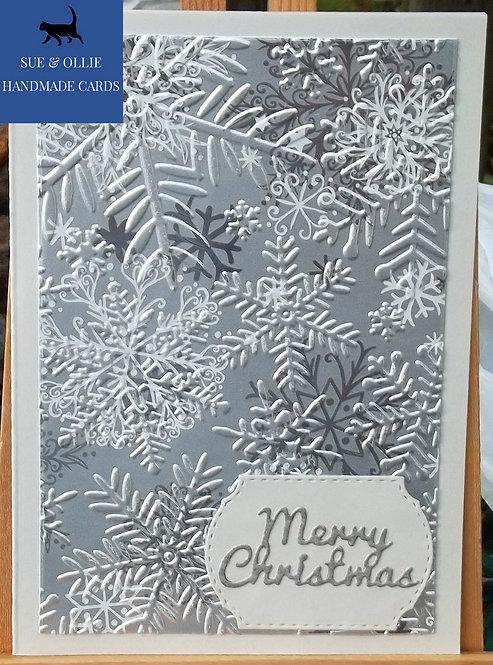 Grey & Silver Snowflake Merry Christmas Card